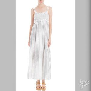 Max Studio Striped Ruffle Trim Maxi Dress- ChicEwe